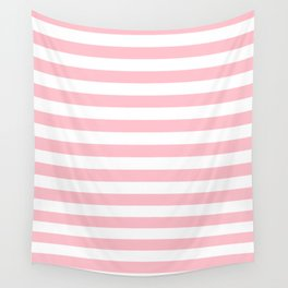 Narrow Horizontal Stripes - White and Pink Wall Tapestry