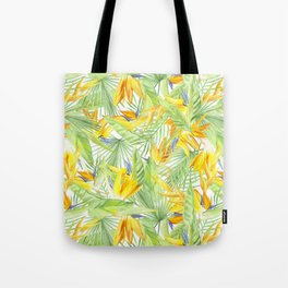watercolor pattern tropical leaves and flowers bird of paradise Tote Bag