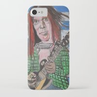 neil young iPhone & iPod Cases featuring Neil Young by Robert E. Richards