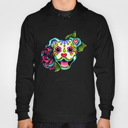 Smiling Pit Bull in White - Day of the Dead Pitbull Sugar Skull Hoody