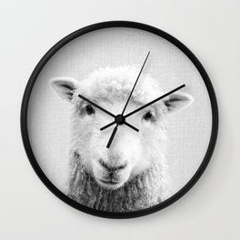 Sheep - Black & White Wall Clock