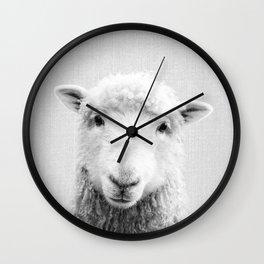 Sheep - Black & White Wall Clock