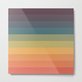 Colorful Retro Striped Rainbow Metal Print
