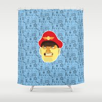 street fighter Shower Curtains featuring Bison - Street Fighter by Kuki