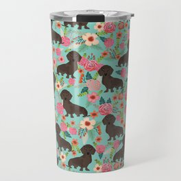 Doxie Florals - vintage doxie and florals gift gifts for dog lovers, dachshund decor, chocolate doxi Travel Mug