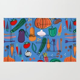 fall veggies blue Rug