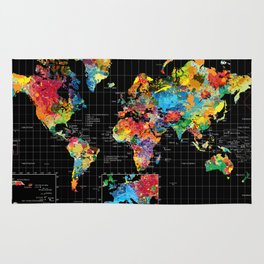World Map Black - 1 Rug