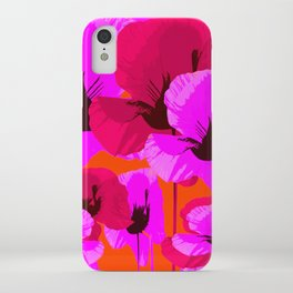 Pink And Red Poppies On A Orange Background - Summer Juicy Color Palette Retro Mood #decor #society6 iPhone Case