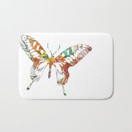 Colorful butterfly fabric art Bath Mat