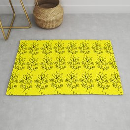 Yellow Floral Print Rug