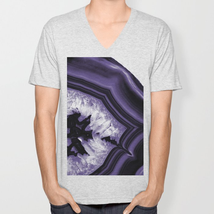 Ultra Violet Agate Chic #1 #gem #decor #art #society6 Unisex V-Neck