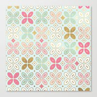 moroccan Canvas Prints featuring MOROCCAN TILE by Monika Strigel