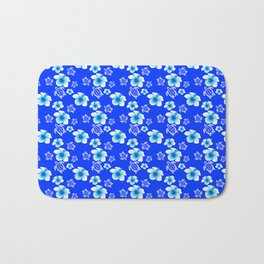Blue Floral And Turtles Hawaiian Pattern Bath Mat