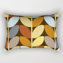 Retro 70s Color Palette Leaf Pattern Rectangular Pillow