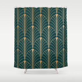 Hidden Sapphire Gold Pattern Shower Curtain