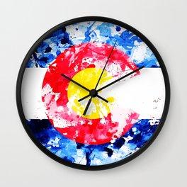 Colorado Watercolor Flag Wall Clock