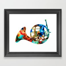 French Horn - Colorful Music By Sharon Cummings Framed Art Print