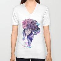 hydrangea V-neck T-shirts featuring Hydrangea by Sheena Pike ART