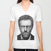 house md V-neck T-shirts featuring House MD by Olechka