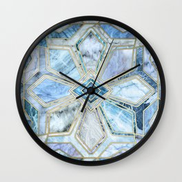 Geometric Gilded Stone Tiles in Soft Blues Wall Clock