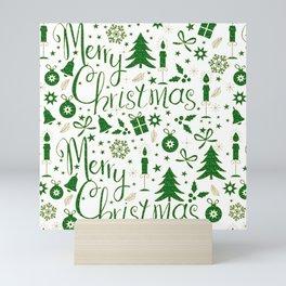 Christmas symbols pattern green and gold Mini Art Print