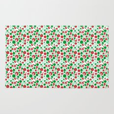 Circle Pattern Holiday Red Green and White Rug