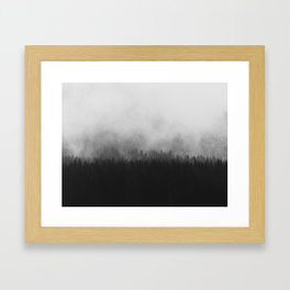 Minimalist Modern Black And white photography Landscape Misty Black Pine Forest Watercolor Effect Sp Framed Art Print