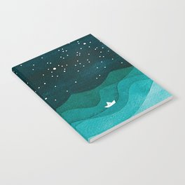Starry Ocean, teal sailboat watercolor sea waves night Notebook
