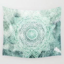 DEEP MINT MANDALA Wall Tapestry
