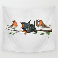 cock Wall Tapestries featuring Cock Robin (Wordless) by rob art | illustration