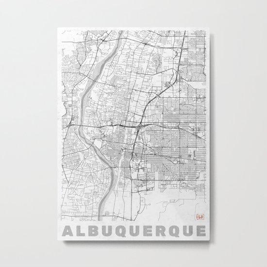 Albuquerque Map Line Metal Print