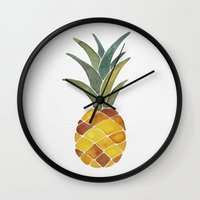 pineapples Wall Clocks featuring Pineapples by Cat Coquillette