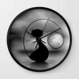 dreaming of mooncats bw -3- Wall Clock