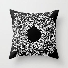 White Linocut Flowery Wreath On Black Throw Pillow