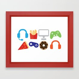 Video Game Party Snack Pattern Framed Art Print