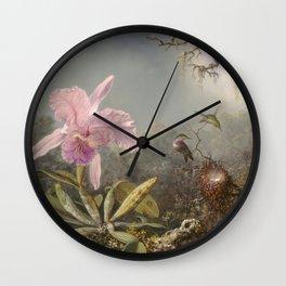 Martin Johnson Heade - Cattleya Orchid And Three Hummingbirds Wall Clock
