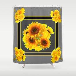 YELLOW SUNFLOWER BOUQUETS GREY ART Shower Curtain