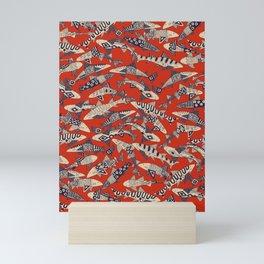 shark party red Mini Art Print