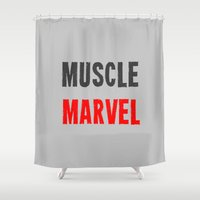 workout Shower Curtains featuring Workout Collection: Muscle by Kat Mun