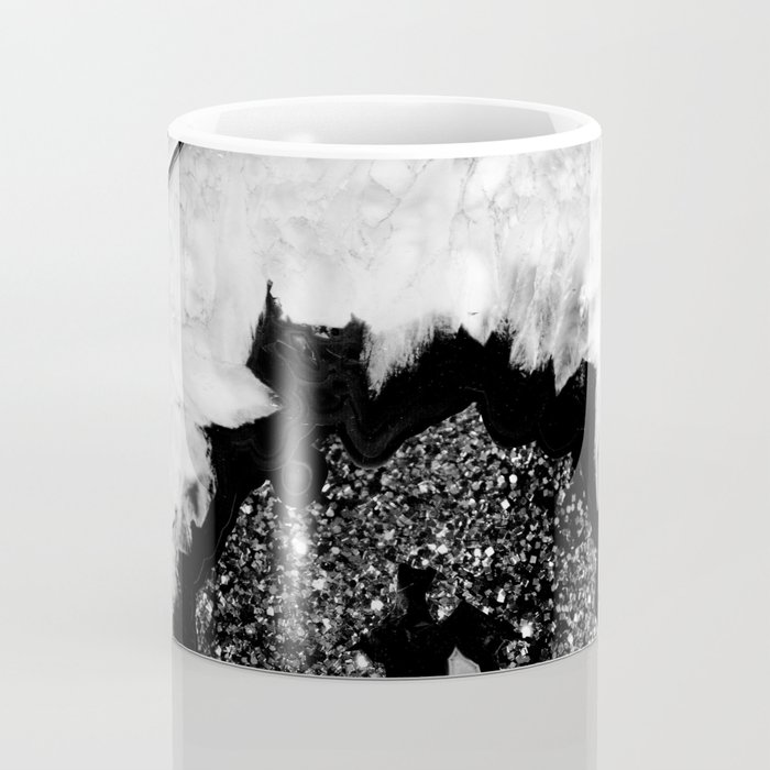 Gray Black White Agate with Black Silver Glitter #2 #gem #decor #art #society6 Coffee Mug