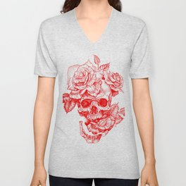 Roses and Human Skull - Red Unisex V-Neck