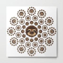 Totally Slothsome Mandala Sloth Art Design Metal Print