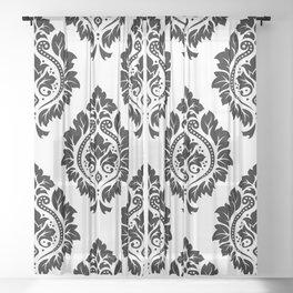 Decorative Damask Art I Black on White Sheer Curtain