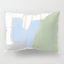 stone by stone 1 - abstract art fresh color turquoise, mint, purple, white, gray Pillow Sham