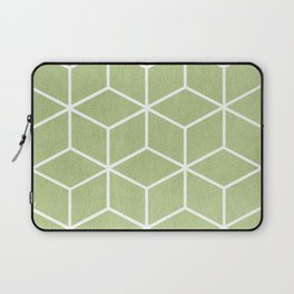 Lime Green and White - Geometric Textured Cube Design Laptop Sleeve