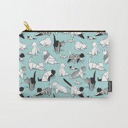 Origami kitten friends // aqua background paper cats Carry-All Pouch