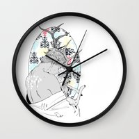 fawn Wall Clocks featuring Fawn by Cassandra Jean
