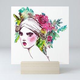 #Floral fashion portrait Mini Art Print
