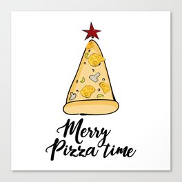 Merry Pizza Christmas time Canvas Print