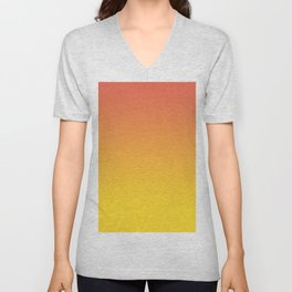 Pantone Living Coral & Vibrant Yellow Gradient Ombre Blend Unisex V-Neck